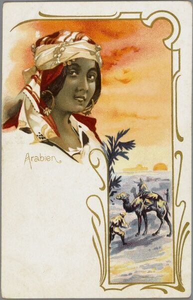 Art Nouveau card depicting a lady from Arabia and a small inset landscape of a typical desert scene from the region