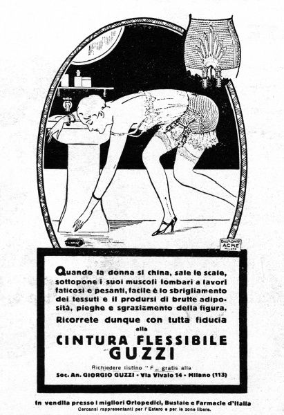 A lady bends to pick up the soap tablet she has dropped - thus demonstrating the remarkable flexibility of her Guzzi girdle Date: 1928