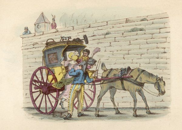 A lady enters a Paris cab. The horse (with docked tail) conceals his enthusiasm. This type of cab is known as a 'pot de chambre' (chamberpot) for no obvious reason