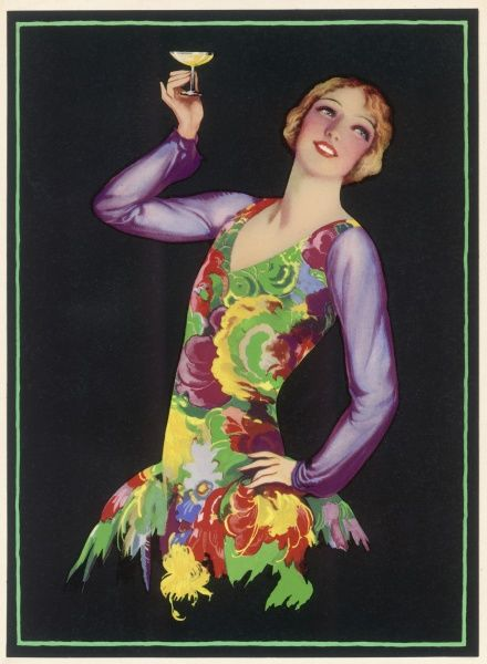 A lady wearing a very colourful dress holds up a glass of champage, perhaps to toast