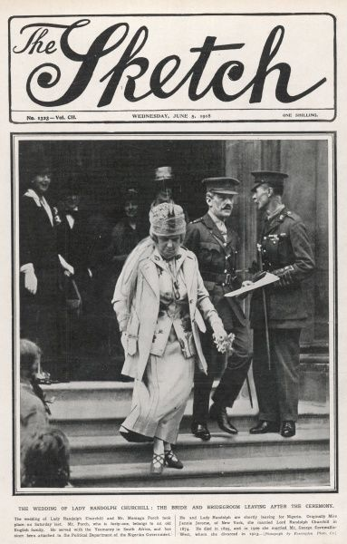 JENNIE JEROME, later Lady Randolph Churchill and then Mrs George Cornwallis West, mother of Winston Churchill, marries her third husband, Mr Montagu Porch in 1918