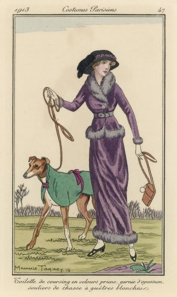 A lady and her greyhound at a coursing meeting : her outfit is in prune-coloured velvet, the dog's is less elaborate. Date: 1913