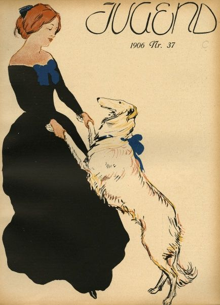 A lady and her borzoi perform a pas de deux