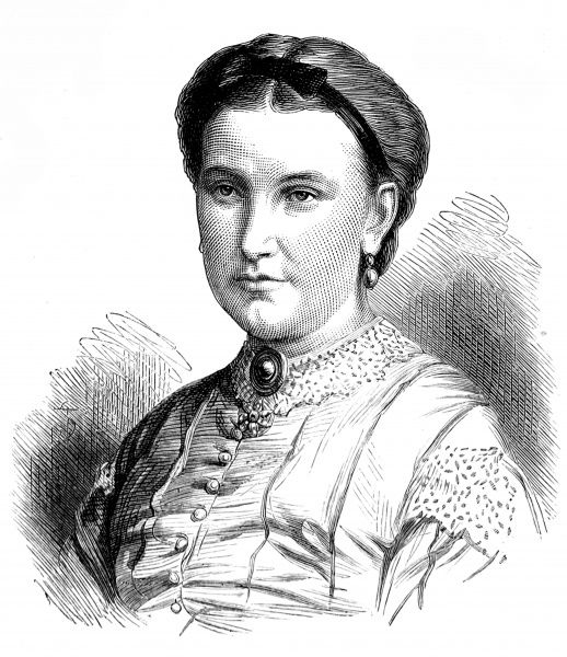 Engraving of Lady Florence Baker, the wife of Sir Samuel White Baker, the English explorer, pictured in 1873. Lady Baker joined her husband on his extensive exploration of Central Africa, in search of the source of the Nile River, in the early 1860's