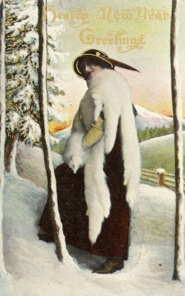 Lady in furs in the snow