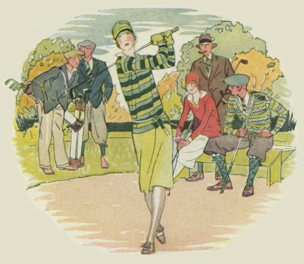 A lady golfer in a chic outfit surveys the sky after hitting the ball, while a group of admiring fellow golfers appear suitably impressed