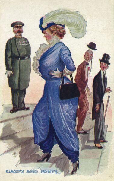 A rotund lady draws breath (it appears she has been wound in to a VERY tight corset!) as she ascends some steep stares, but also draws gasps of astonishment from three gentleman, unfamiliar with her new style 'Harem Pants&#39