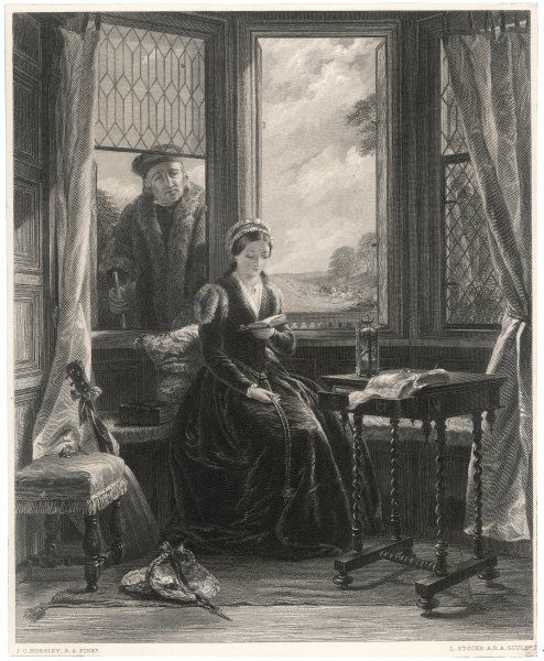 LADY JANE GREY proclaimed Queen of England, and beheaded on Tower Hill in London at the age of 18: seen here with Roger Ascham