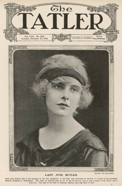 Lady June Butler on the front cover of The Tatler in October 1918. The younger of the two daughters of the Earl and Countess of Carrick, she was a nurse at the Auxiliary Military Hospital at Hoddesdon during World War One