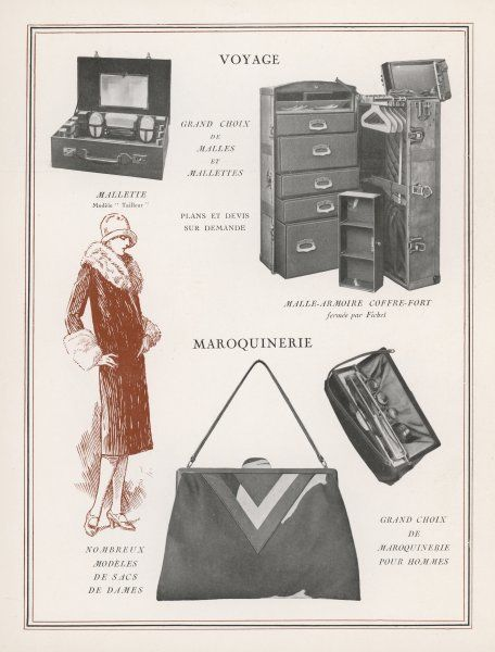 A lady and the various items of luggage she will need when travelling - small case, trunk with drawers, bag for her make-up and so on, and her handbag