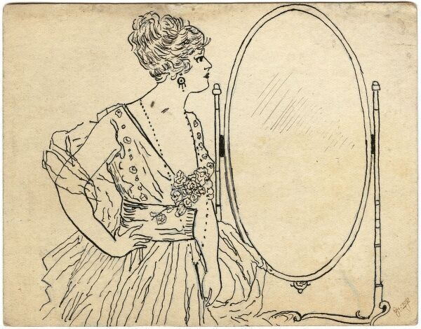 A rather arrogant lady, wearing a fashionable ensemble, gazing at her reflection in a large oval mirror, except, spookily, no reflection appears to be forthcoming