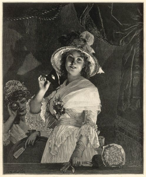 A well-dressed, smiling young lady, wearing a hat with feathery plumes, looks out of her opera box, a glove in one hand, mask in the other