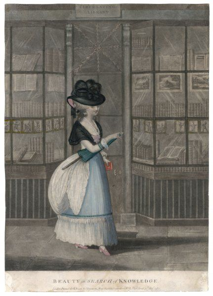 'BEAUTY IN SEARCH OF KNOWLEDGE' - an elegant lady emerges from a bookshop clutching a volume - or is she about to exchange it at the library ?