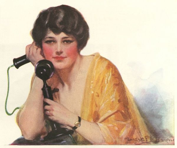 LADY LISTENING ON PHONE Date: 1925