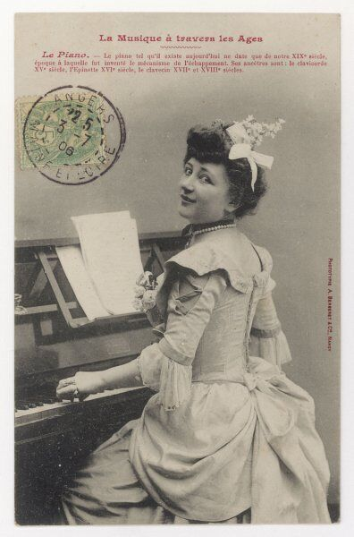 A smiling Frenchwoman at a small upright piano