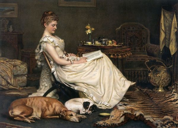 A colour illustration showing a lady distracted from her book by her sleeping dogs. Date