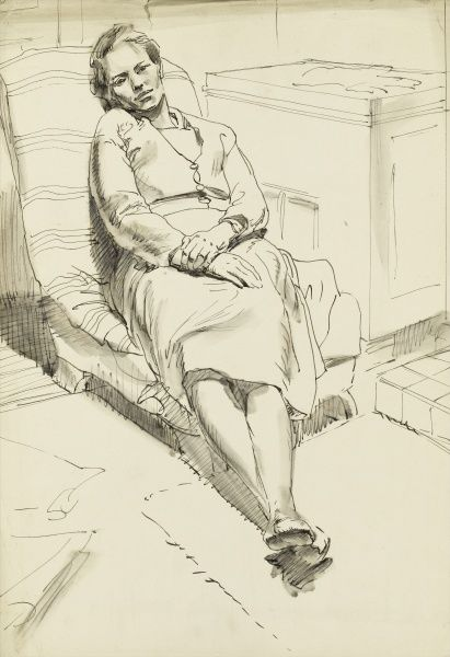 A lady resting and relaxing in a comfortable low chair. Pen and wash sketch by Raymond Sheppard