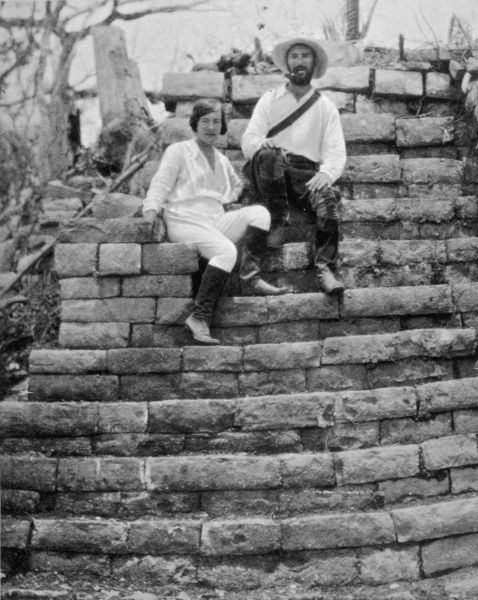 Lady Richmond Brown and Baron Mitchell Hedges on the steps of a prehistoric ruin in the jungle south of Panama