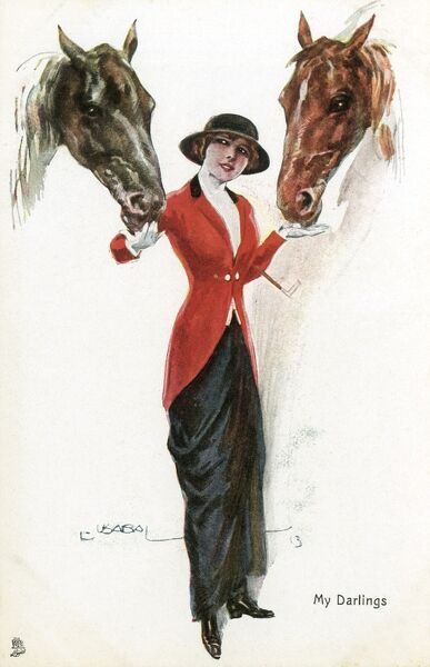 'My Darlings' Lady rider holding the heads of to of her favourite horses Date: circa 1910s