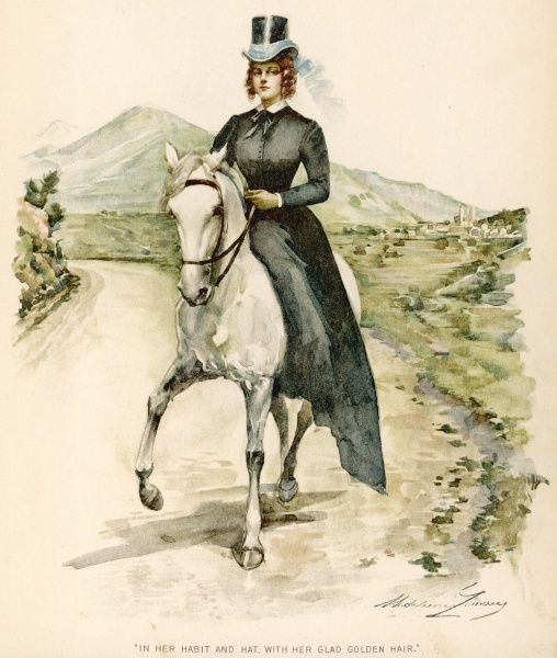 A lady riding side-saddle trots along a country road