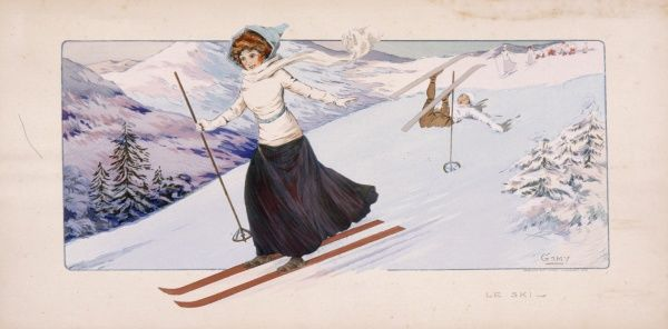 A lady in Edwardian dress skis down a mountain -- behind her, a man has fallen over, perhaps in surprise at her expertise or bravery