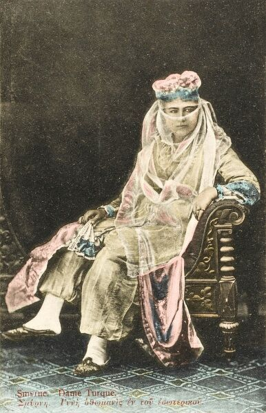 Elegant lady from Smyrna (Izmir), veiled and seated