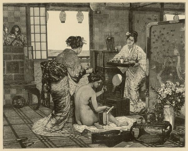 A naked woman, playing a guitar-like instrument, is tended to by two Japanese servants; one brings in a tray of tea while the other styles her hair