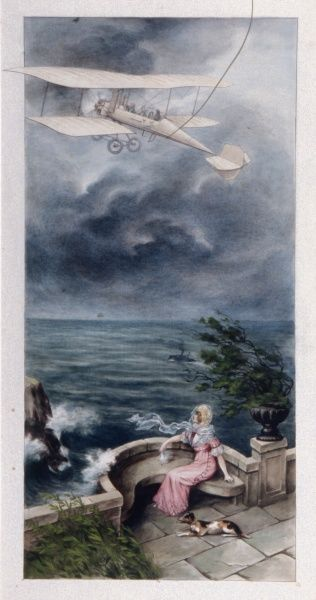 A lady sits on a stone balcony looking out at sea, where an early aeroplane can be seen heading. From the look of the stormy skies, I don't fancy the pilot's chances