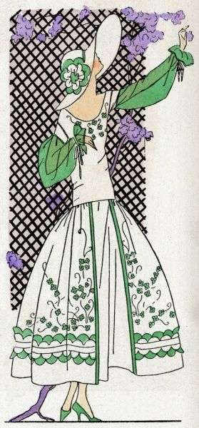 Lady doing some light gardening in a white and green organdy dress, by Jeanne Lanvin