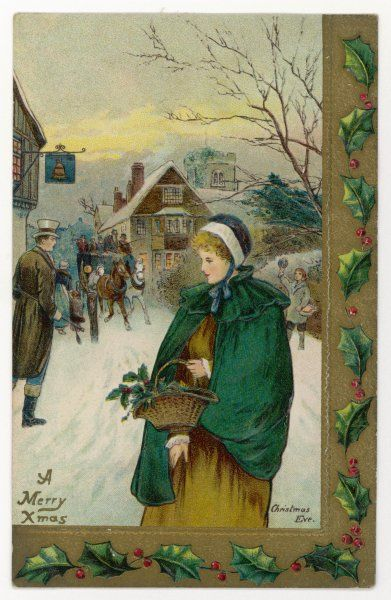 A young lady walks through the snow-covered street of the town, carrying a small basket of holly, but if she's not careful she'll be run over by the stagecoach