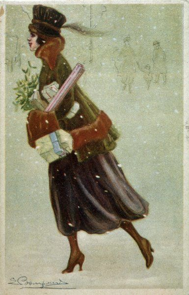 A lady hurries home with her Christmas shopping