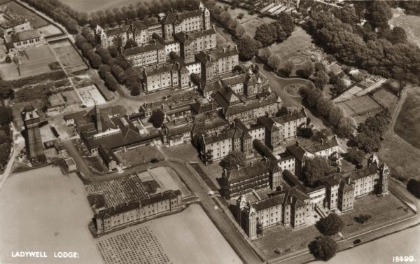 Aerial view of Ladywell Lodge, a residential institution for the elderly, near Lewisham, in south east London