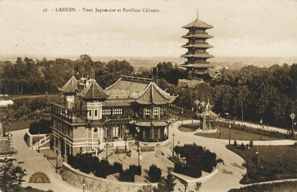 The Japanese Pagoda and the Chinese Pavilion at Laeken, Belgium (a residential suburb in north-west Brussels)