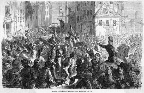 M.J.P.Y.R.G DU M DE LAFAYETTE feted by the people of Lyon i n 1828