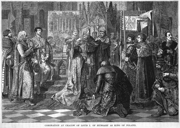 Lajos (Louis) I of Hungary, nephew of Kazimierz III, is crowned king of Poland at Krakow