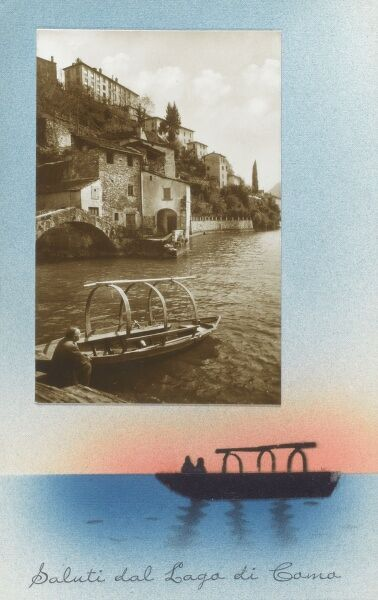 Lake Como, Italy - General View with rowing boat. Date: circa 1930s