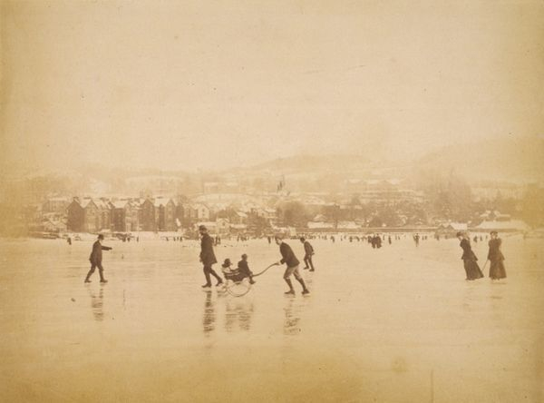 Lake Windermere, in England's lake district, is frozen over, offering skaters a vast expanse of ice upon which to perform