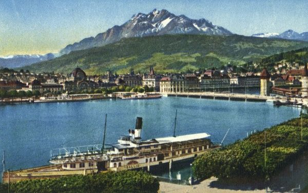A view of Lake Lucerne, Switzerland, with the Pilatus mountain in the background (height of 2132 metres). Date: circa 1940