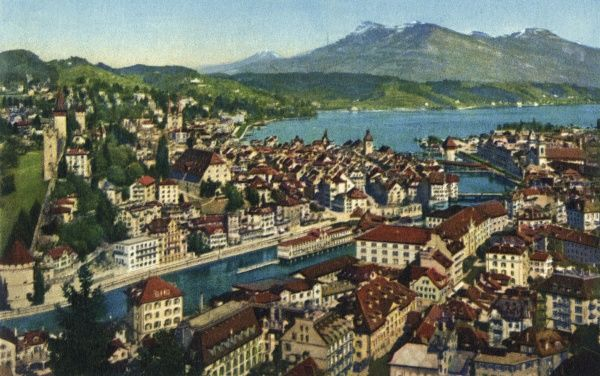 A view of Lake Lucerne, Switzerland, with the Rigi mountain in the background (height of 1800 metres). Date: circa 1940