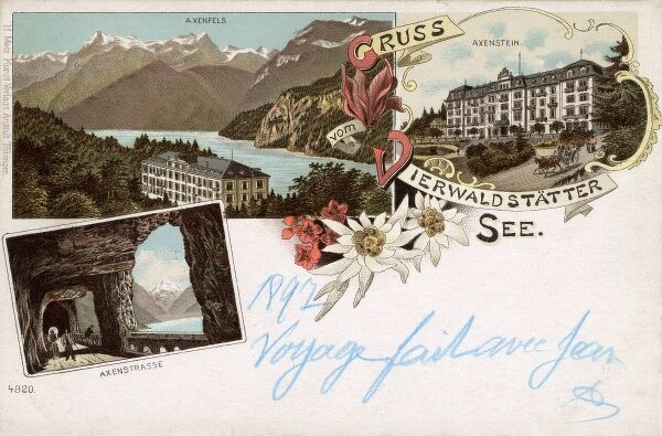 Lake Lucerne (Vierwaldstatter Lake), Switzerland with views of Axenfels resort, the Axenstrasse Mountain road and tunnel (on the Axenberg or Axen Mountain) and the Axenstein Hotel. Date: 1897