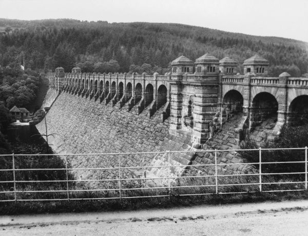 The Great Dam of Lake Vyrnwy, started in 1881 to supply water to Liverpool and was offically opened in 1910. The man-made lake took 2 years to fill, the largest in Wales