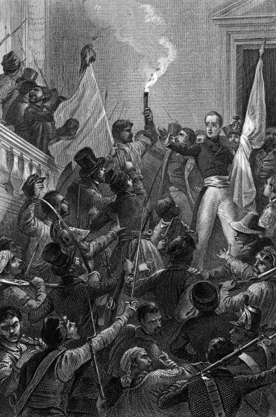 Alphonse de Lamartine, poet and statesman, urges his countrymen to reject the red flag of revolution and adopt the tricouleur. symbol of liberty. Date: 25 February 1848