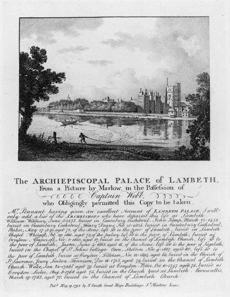 The palace of the Archbishops of Canterbury, seen across the Thames: first erected in 1197, but substantially altered through the centuries Date: in the 18th century