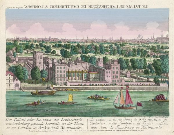 View across the Thames of the residence of the archbishop of Canterbury : the shipping on the river includes a ferry carrying a carriage and its horses