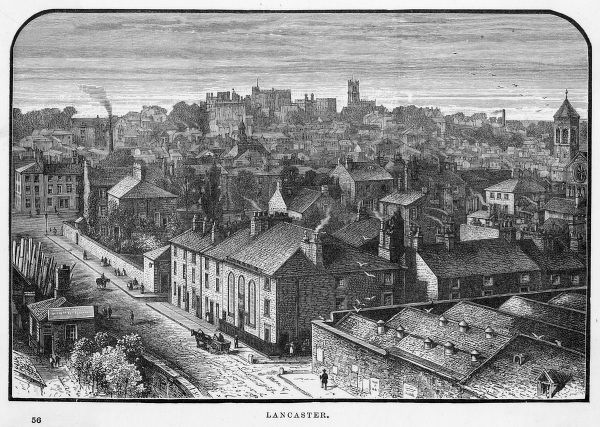 Bird's eye view of Lancaster, Lancashire