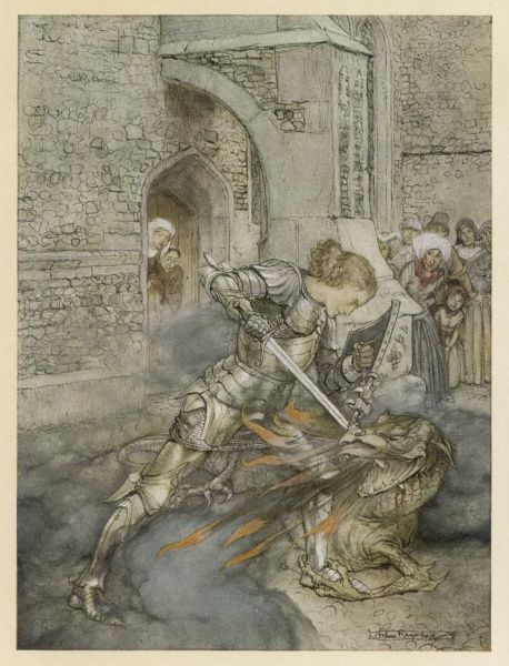 'How Sir Launcelot fought with a fiendly dragon&#39