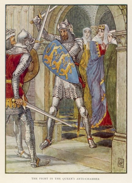 Sir Lancelot rescues Queen Guinevere (in her anti- chamber) from Sir Mador