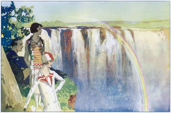The Victoria Falls on the Zambesi River, South Africa, have been described by many travellers as The Eighth Wonder of the World