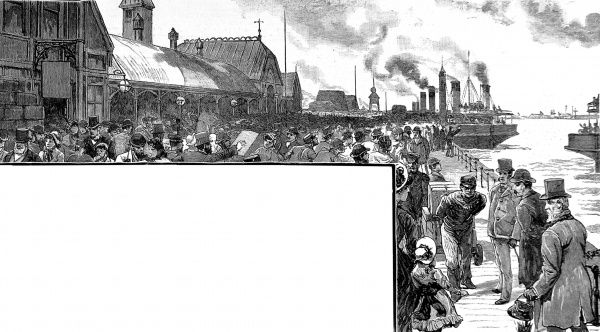 Engraving showing the wooden landing stage at Liverpool docks, crowded with people, with steam ships on the river Mersey in the background, 1884