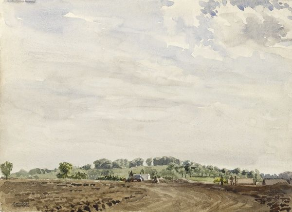 Landscape at Barn Hill, Wembley. Watercolour painting by Raymond Sheppard